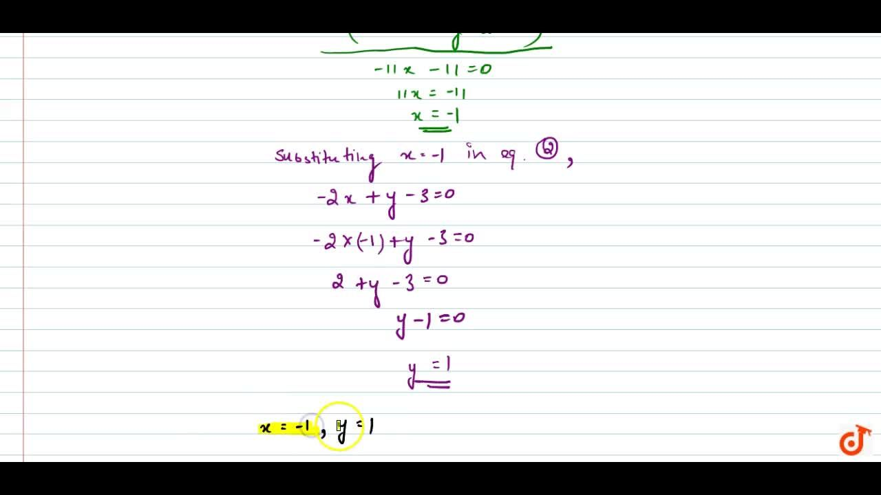 Solve the following   system of equations: 3x-7y+10=0,\ \ \ y-2x-3=0