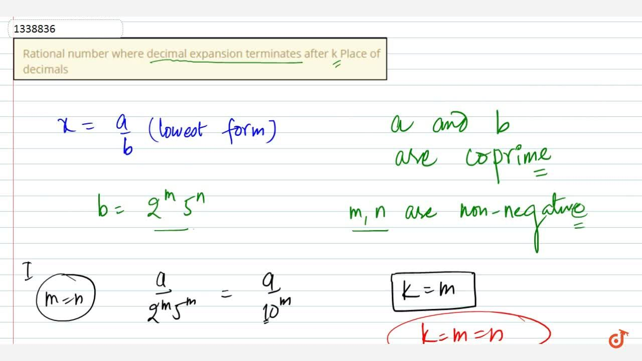 Rational number where decimal expansion terminates after k Place of decimals