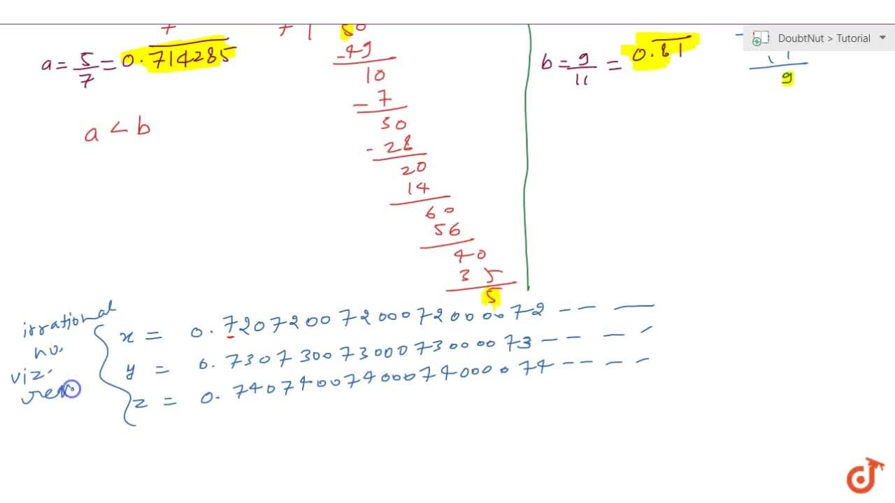Find three different irrational numbers between   the rational numbers 5,7a n d9,(11)