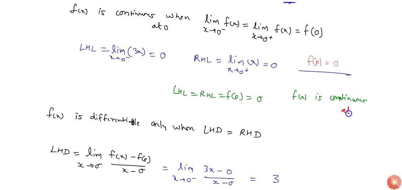 Solution for Show that the function f(x)=2x-|x| is continuous