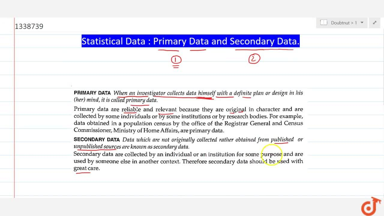 Solution for Statistical Data : Primary Data and Secondary Data