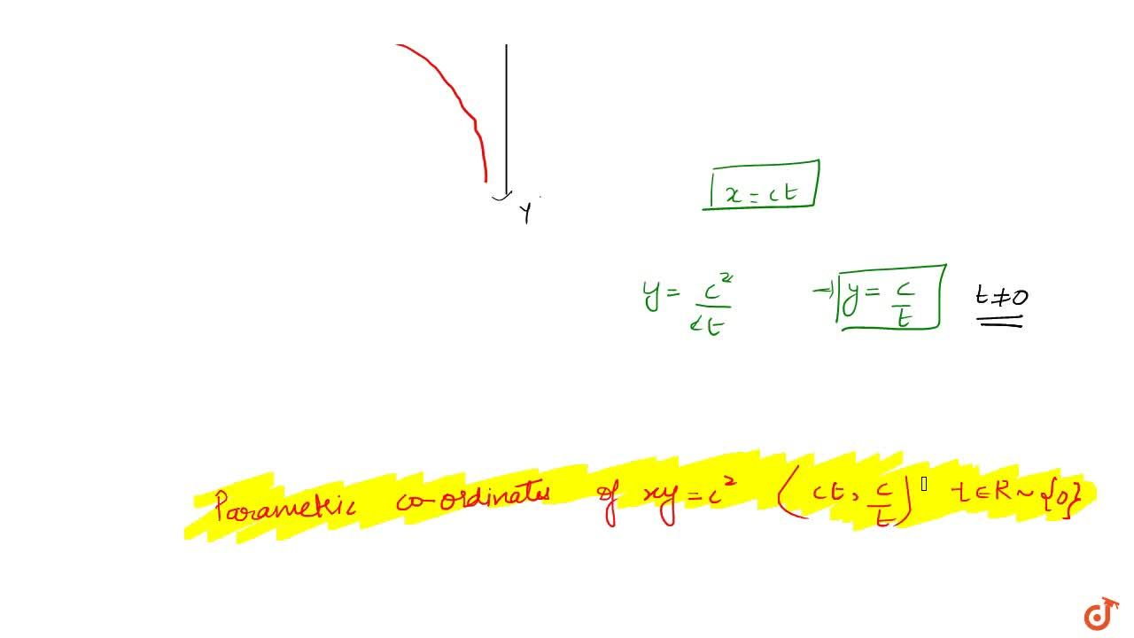 Solution for The parametric form of rectangular hyperbola xy=c