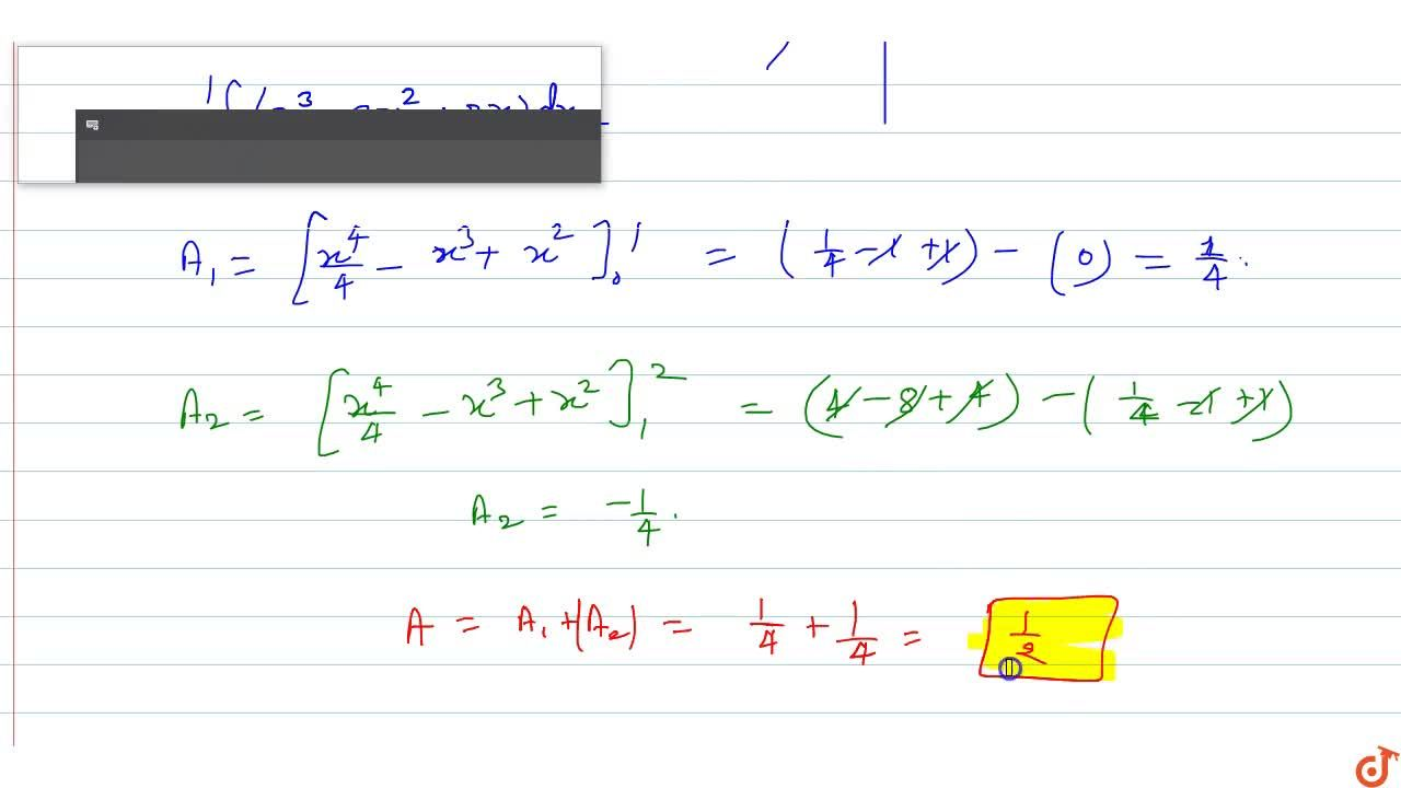 Find the area  bounded by the curve y=x(x-1)(x-2) and the x-axis.