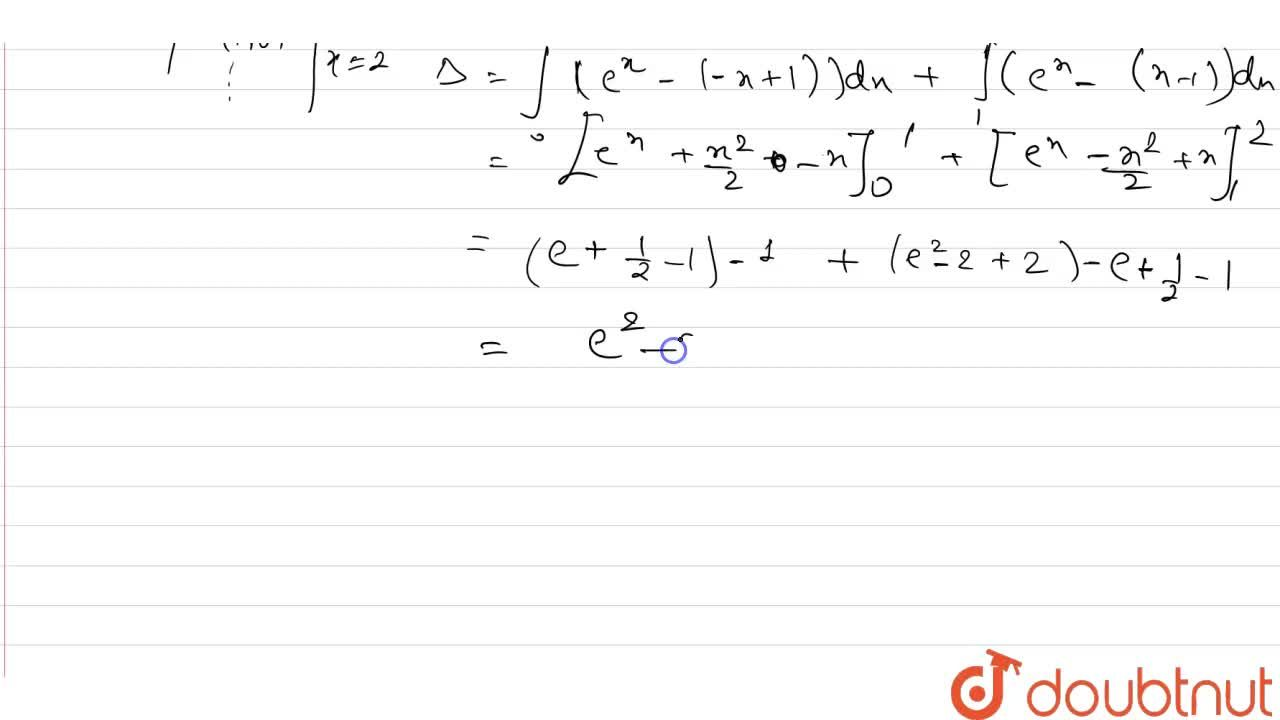 Find the area bounded by the curves  y = e^(x), y = |x-1| and x = 2.
