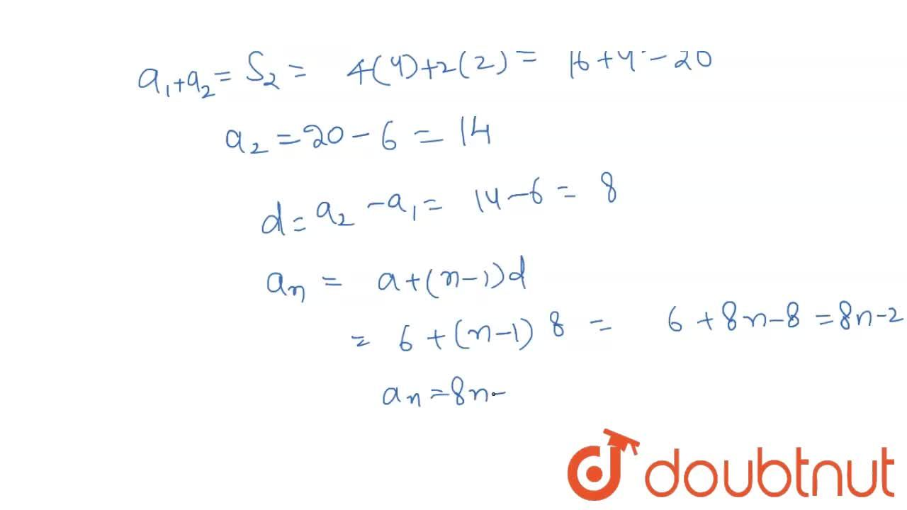 Solution for The sum of   the first n terms of an   A.P. is