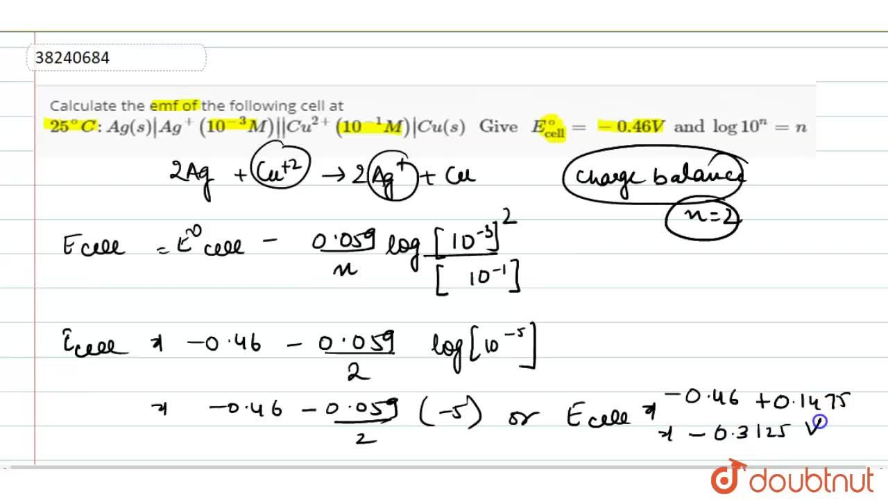 Solution for Calculate the emf of the following cell at 25^(@)